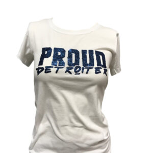 Glitter Blue and White Proud Detroiter T-Shirt