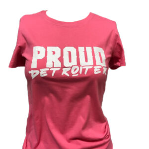 Pink and White Glitter Proud Detroiter T-Shirt
