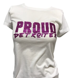 Glitter Purple and White Proud Detroiter T-Shirt