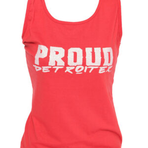 White & Red Proud Detroiter Glitter Tank