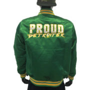 Proud Detroiter Green starter Jacket Back